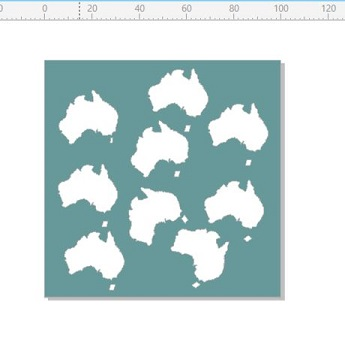 Australia day map  mini  stencil 4x4 inches or 100 x 100mm min b